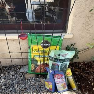 Lot # 149 - Gardening Supplies (Trellises, Soil, Bird Seed, Feeder and Sprays)
