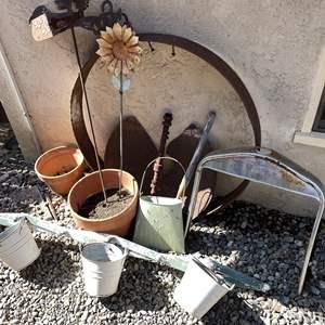 Lot # 150 - Terracotta Pots and Shabby Chic Garden Art