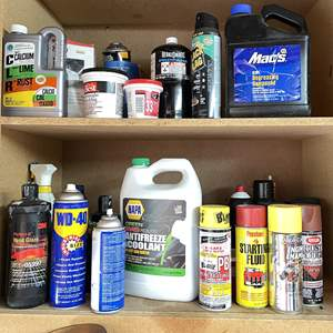 Lot # 221 - 2 Shelves of Home and Automotive Items
