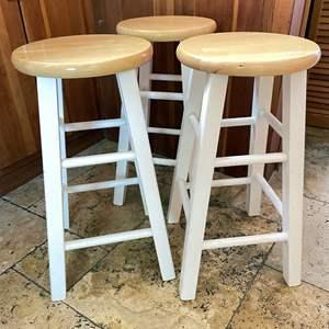 Lot # 105 - (3) Solid Wood Barstools