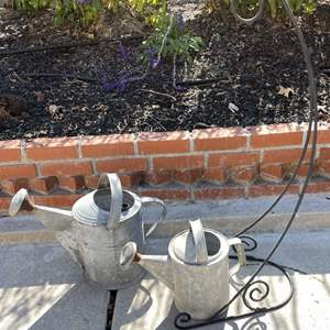 Lot # 213 - Watering Cans, Hanging Plant/Feeder Holder and Shears