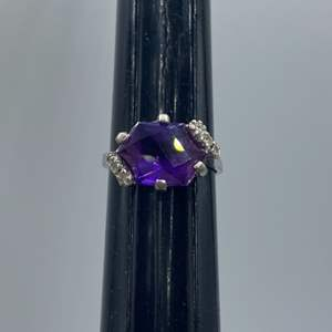 Lot # 5 - 4.0c Amethyst and 10k white gold (3.4g)