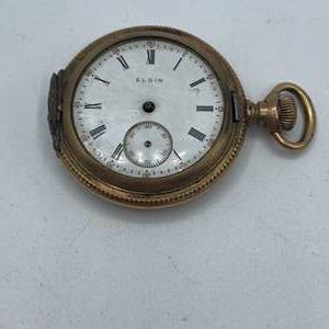Lot # 6 - Elgin 14k gold plate pocket watch - not running