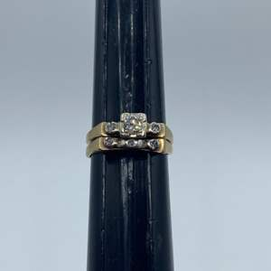 Lot # 12 - Wedding set 14k gold .25ctw diamond (3.0g)