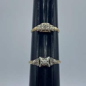Lot # 14 - Two wedding bands 14k gold (2.2g).15ctw diamond
