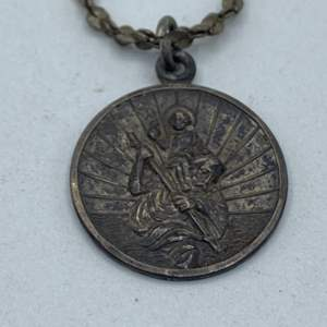 Lot # 26 - Sterling St. Christopher charm on sterling chain (9.0g)