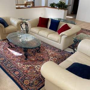 Lot # 43 - Leather 3-piece set Couch, Chair and love seat