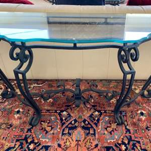 Lot # 44 - Iron sofa table with triple-beveled glass top