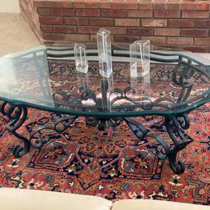 Lot # 45 - Iron coffee table with triple-beveled glass top