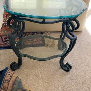 Lot # 46 - Iron end table with triple-beveled glass top