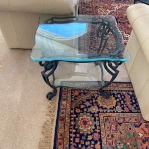Lot # 47 - Iron end table with triple-beveled glass top