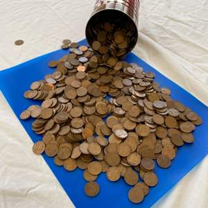 Lot # 51 - 16oz coffee can FULL of pennies!
