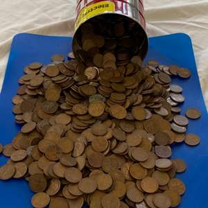 Lot # 53 - 16oz coffee can FULL of pennies!