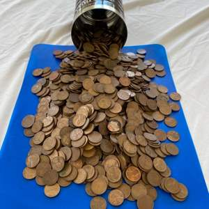 Lot # 55 - 16oz coffee can FULL of pennies!