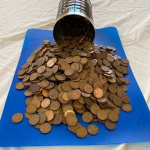 Lot # 57 - 16oz coffee can FULL of pennies!