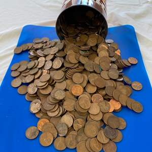 Lot # 58 - 16oz coffee can FULL of pennies!