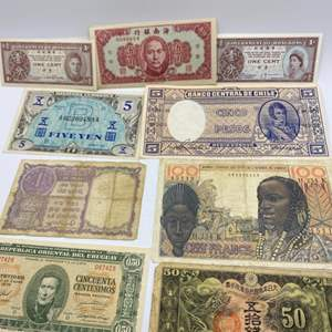 Lot # 80 - 1950's Foreign paper money and coins