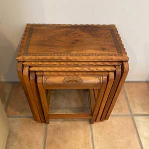 Lot # 90 - Vintage stacking tables with carved edge