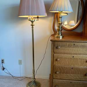 Lot # 96 - Brass lamps, floor and table