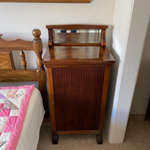 Lot # 103 - Parlor cabinet for vinyl records storage with beveled mirror
