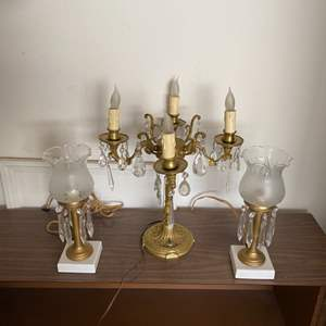 Lot # 104 - Three brass chandelier table lamps with crystals