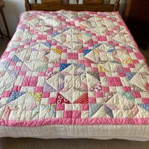 Lot # 107 - Headboard, mattress, boxspring and bedding