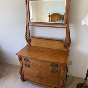Lot # 114 - Antique dresser with mirror