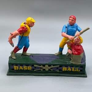 Lot # 142 - Cast-iron baseball bank