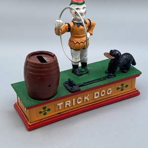 Lot # 143 - Cast iron trick dog bank