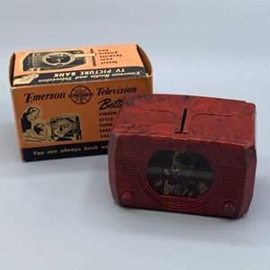 Lot # 144 - Vintage Emerson TV bank with original box