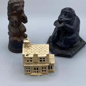 Lot # 145 -  Vintage cast-iron bank house and Vantine incenses burner