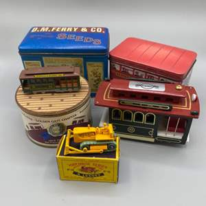 Lot # 146 - A. Lesney Matchbox bulldozer with original box and novelty tins