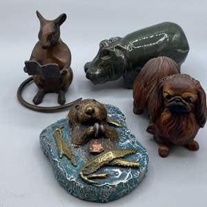 Lot # 149 - Chesney Studios Otter sculpture, Ann Dyer pekingese and two other animal sculptures