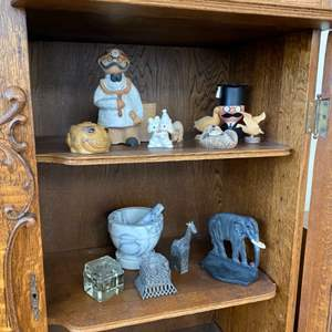 Lot # 178 - Office shelf decor; ink wells, mortar and pestle, book end and more