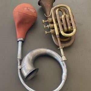 Lot # 181 - Vintage horn and trumpet