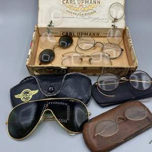 Lot # 191 - Vintage Bauch & Lomb Wings aviator sunglasses and other eyewear in cigarbox