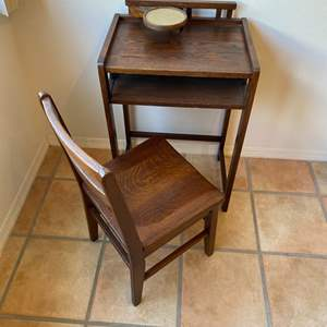 Lot # 197 - Vintage small space desk and chair