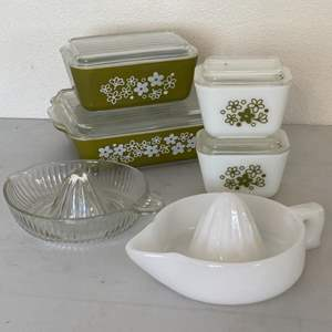 Lot # 209 - Vintage goods; Sunkist milk glass juicer plus one, and refrigerator boxes