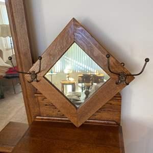 Lot # 216 - Vintage wall mountable oak framed mirror with coat/hat hooks