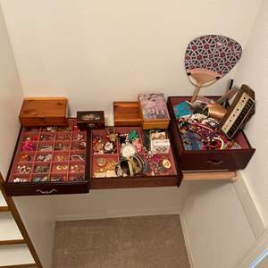 Lot # 244 - Costume Jewelry and jewelry boxes