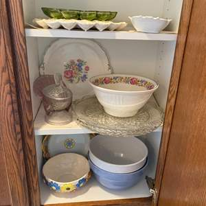 Lot # 259 - Serving bowls, platters, deviled egg trays and more