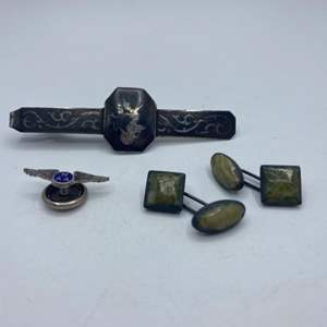 Lot # 323 - Siam silver tie clip, cufflinks and pin