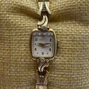 Lot # 349 - Lady Hamilton 10k gold watch with diamonds