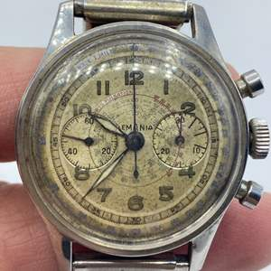 Lot # 366 - Lemania watch with stop watch runs