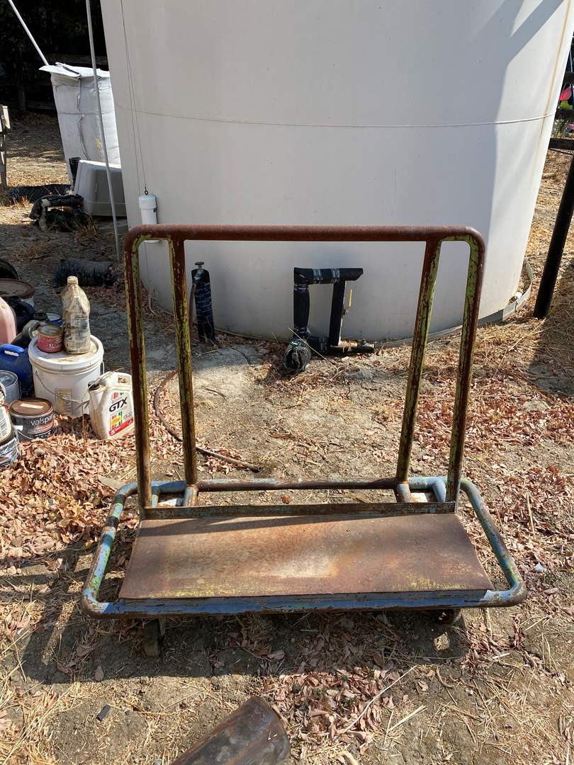 Lot # 6 - ROLLING METAL CART FOR SHEETS OF MATERIAL  (main image)