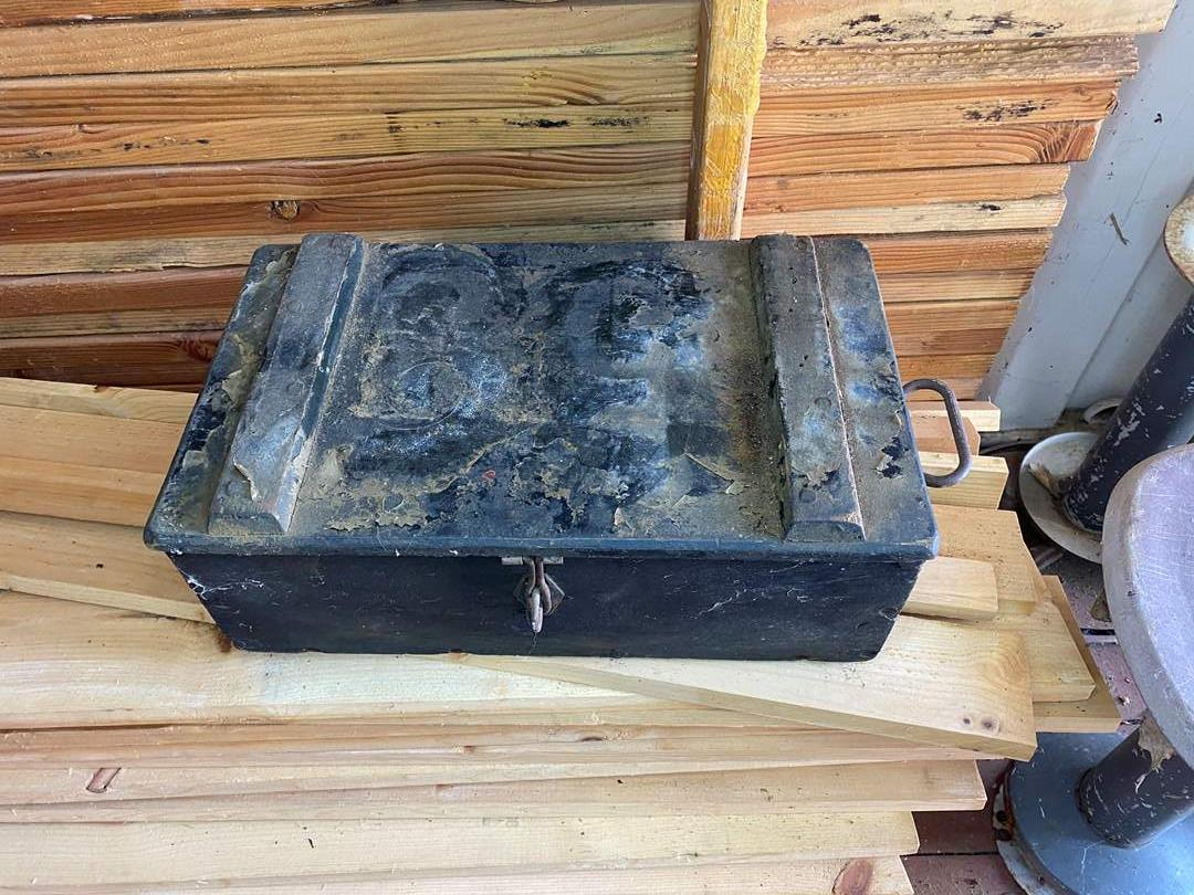 Lot # 28 - VINTAGE WOOD BOX WITH METAL HANDLES AND LATCH  (main image)