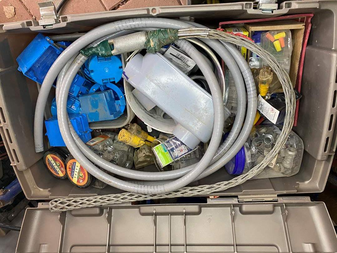 Lot # 294 - LARGE TOTE OF ELECTRICAL SUPPLIES (main image)