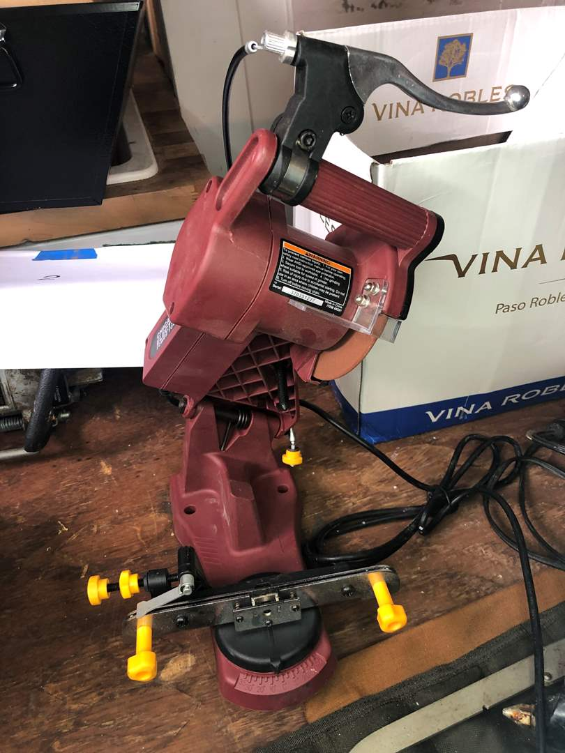 Lot # 7 - SMALL CHOP SAW/ELECTRIC GLUE GUN/MISC. TOOLS WITH BUCKET CADEY (main image)
