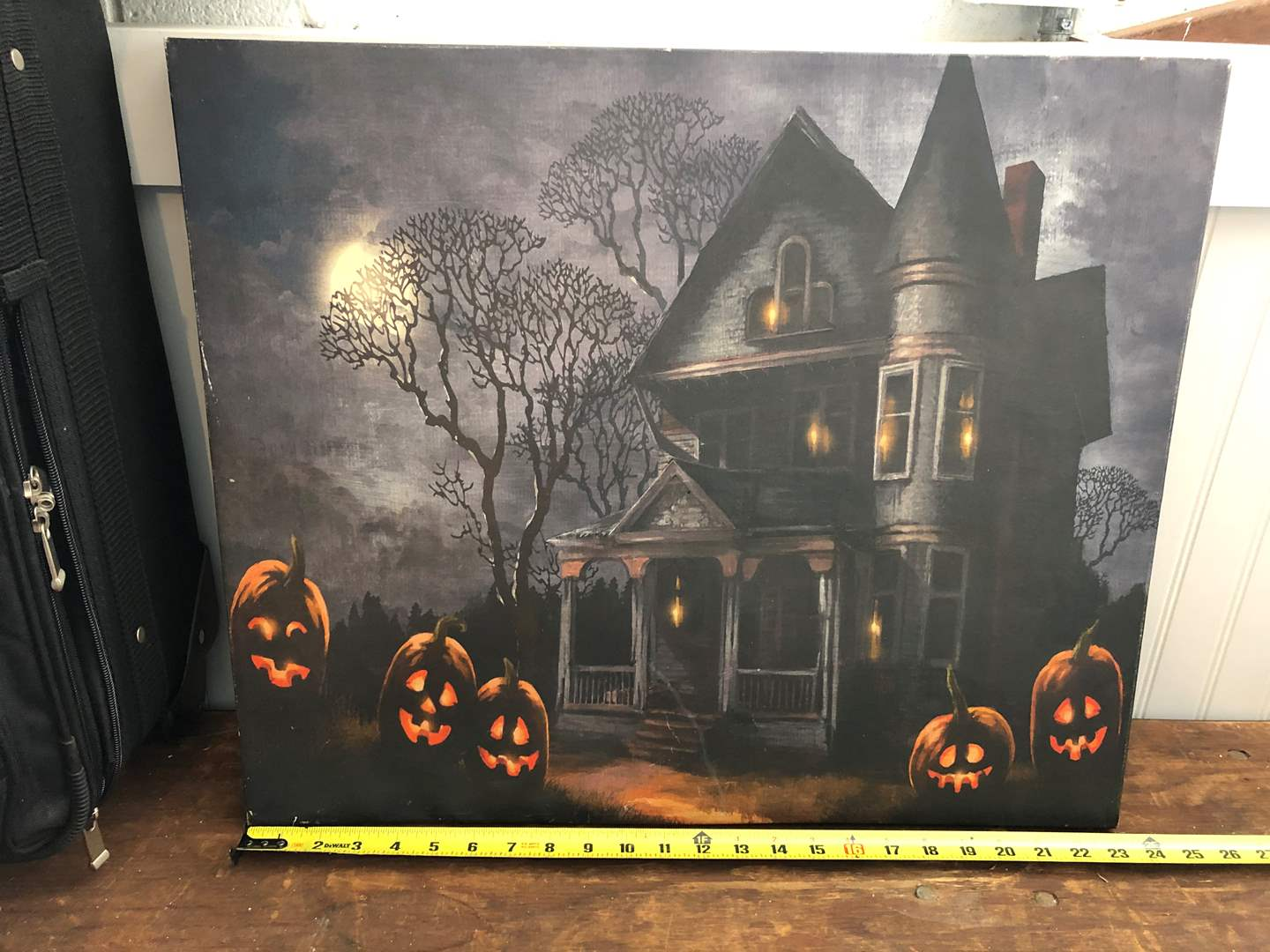 Lot # 91- HALLOWEEN PAINTING AND LIGHTHOUSE PAINTING ON WOOD  (main image)