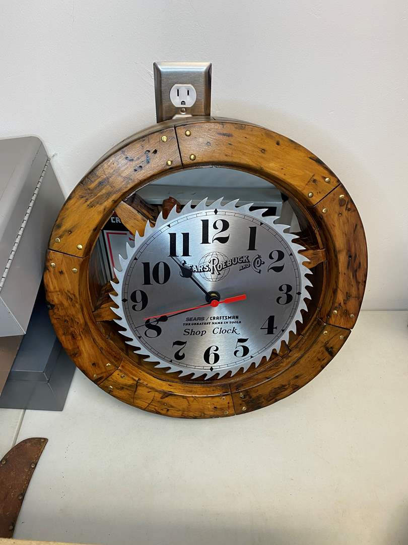 Lot # 4 - CLOCK ON AN ANTIQUE WOOD PULLY WHEEL (main image)